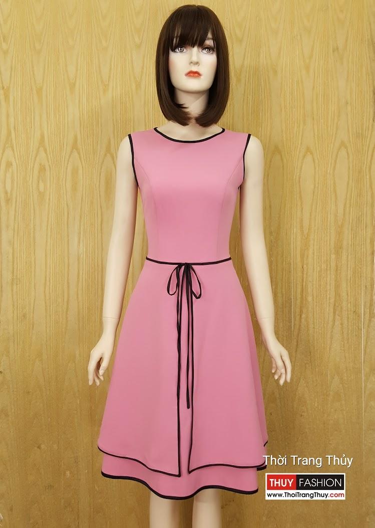 Mẫu Váy xòe dạo phố màu hồng thạch anh tại Hải Phòng