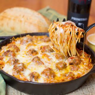 Baked Spaghetti & Meatballs.
