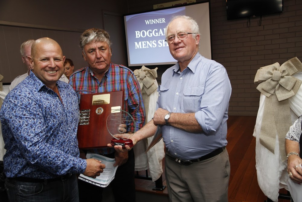 Lloyd Hardy, left,  representing sponsor Boggabri Coal, with Wayne Martin, nominated by Boggabri Rugby League Football Club, who was runner up in the Community Employee Award and Phil Haire, right,  representing the Boggabri Men's Shed, winner of the Boggabri Community Organisation/Group Award.