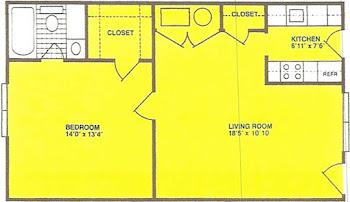 Go to One Bed, One Bath B Floorplan page.