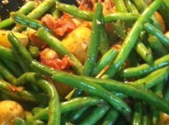 Add the potatoes,Green beans and all seasoning to pan. Add the white wine,and crumbled...