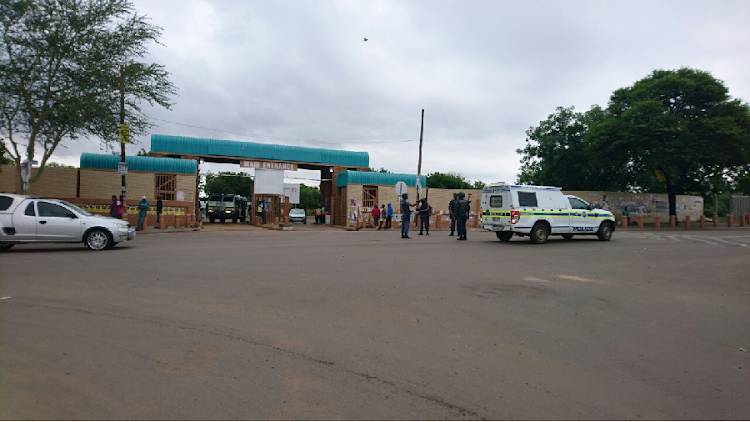 Heavy police and private security presence by the entrance of Tshwane University of Technology's Soshanguve North campus. File Picture: THE TIMES/BOIKHUTSO NTSOKO.