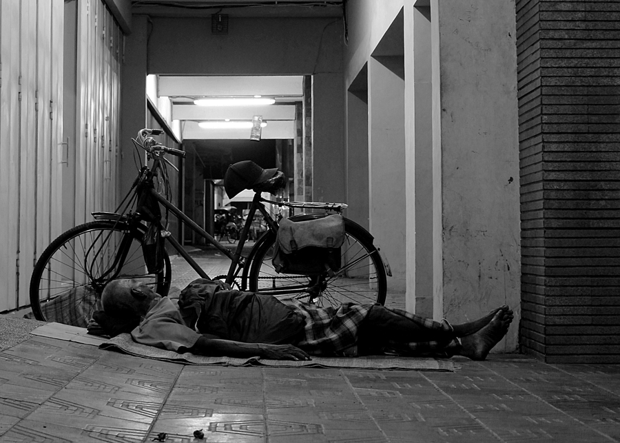 ''sleeping with the bike'' by Harist Satria - City,  Street & Park  Street Scenes