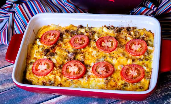Texas Two-step Casserole Ready To Be Sliced.
