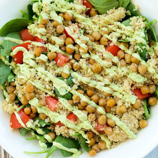 Loaded Spinach Salad with Creamy Avocado Basil Dressing.