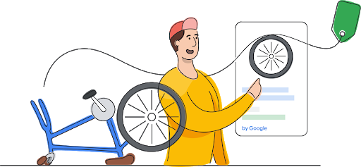A customer with a broken bike using looking at a Google Shopping Ad to find his replacement bike wheel