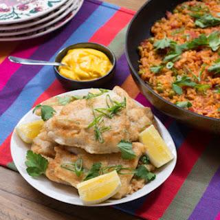 Crispy Catfish & Paella-Style Rice with English Peas & Saffron Aioli.