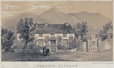 Photo: Lantwit (Llantwit) cottage in Neath, Wales, an engraving from an unidentified book. Wallace lived here with his mother, sister and brothers from c. 1845 until early 1848, when he left for his trip to the Amazon with Henry walter Bates. Copyright of scan: James Williams.