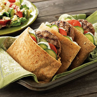 Pita Burgers With Classic Greek Salad.