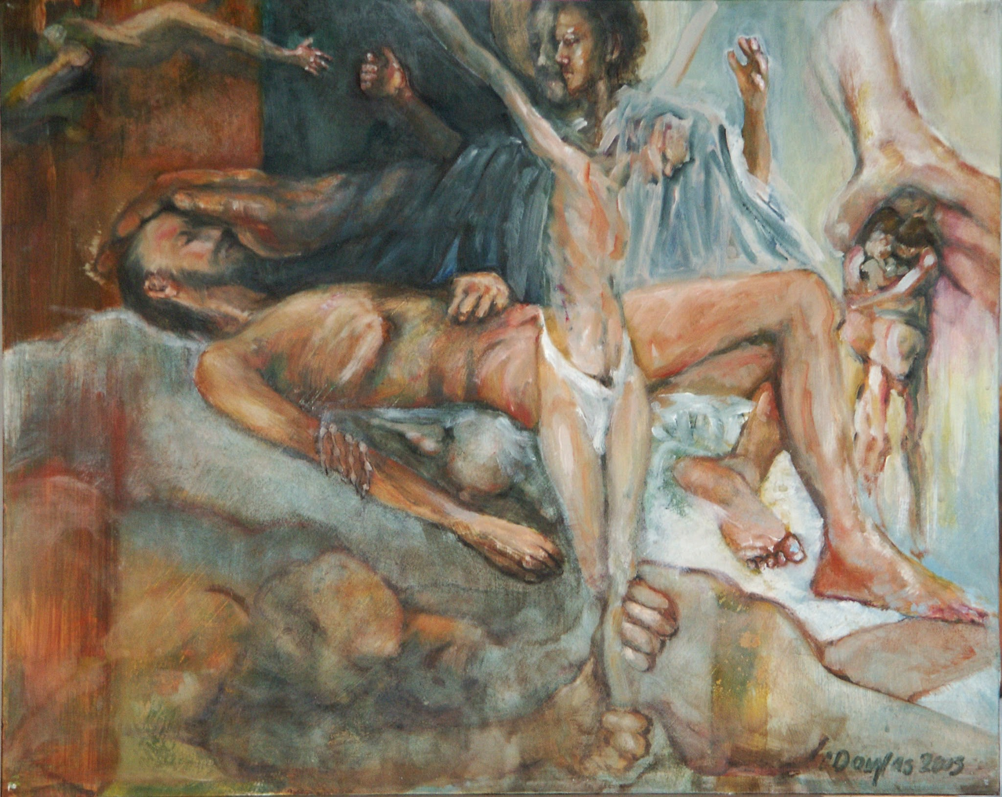 Photo: The Raising of Lazarus 20X16, oil on gessoboard  This depicts the raising of Lazarus and the crucifixion and resurrection of Jesus, since they are closely related events.  On the right, Adam and Eve are evicted from heaven. Along the bottom is the Sheol to which Jesus is being drawn from the cross. Death feasts on Lazarus' decaying body, and the whole human race yearns for Jesus, top left.
