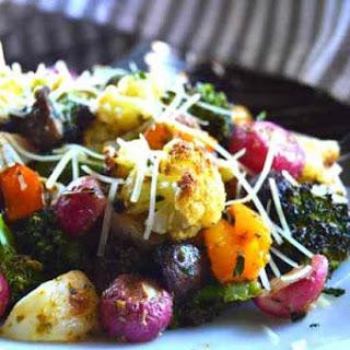 Roasted Vegetable Salad with Basil Pesto.
