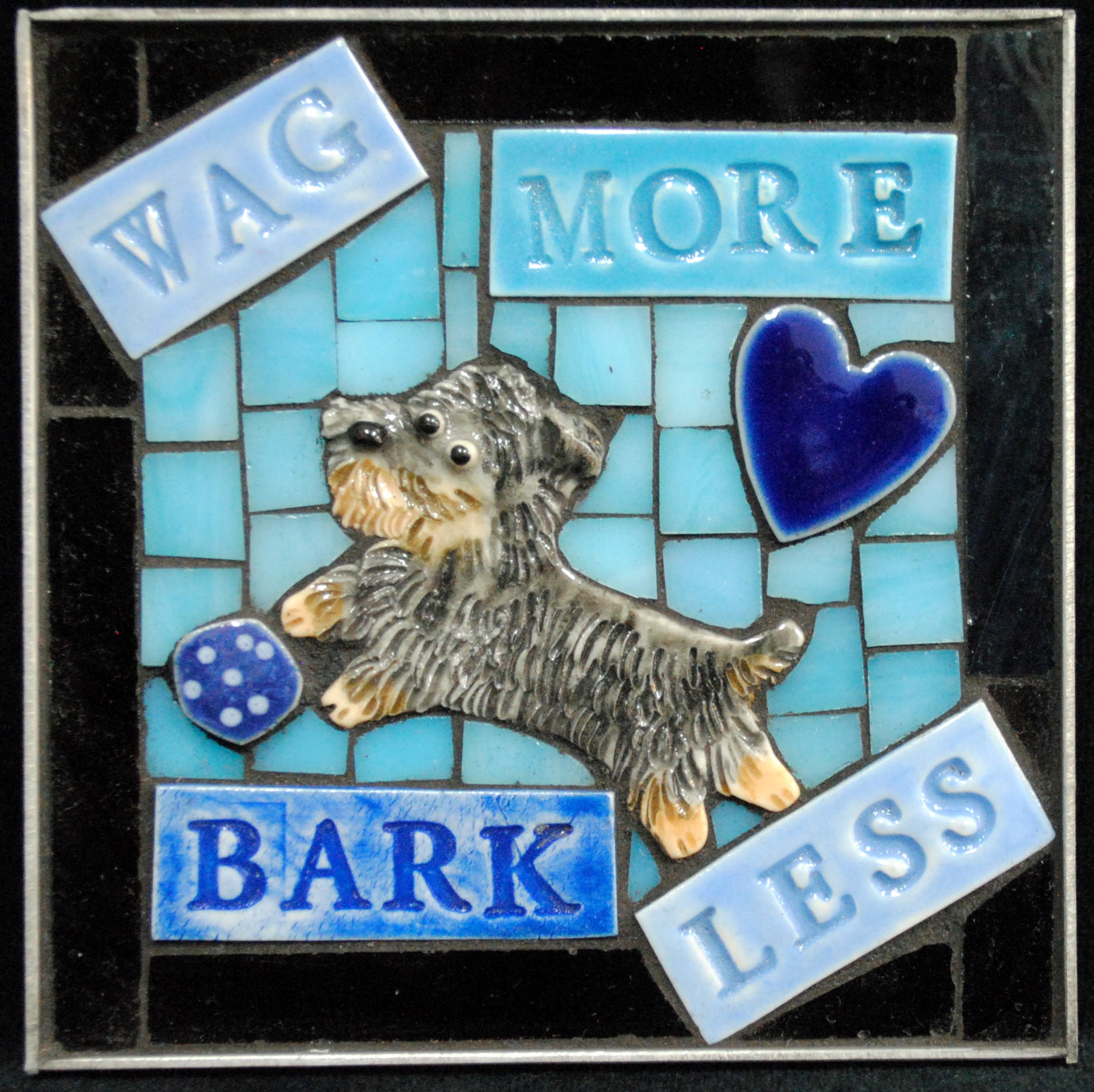 Wag More Bark Less Yorkshire Terrier Mini Mosaic by Brenda Pokorny
