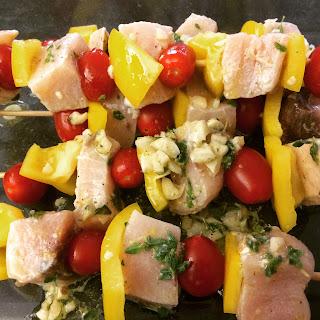 Lemon, Garlic, and Oregano Swordfish Kebabs.