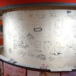 cartoon wall drawnings by famous manga designers Suginami Animation Museum in Tokyo, Tokyo, Japan