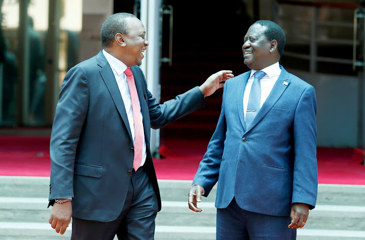 President Uhuru Kenyatta and Opposition leader Raila Odinga outside Harambee House on March 9, 2018.