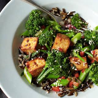 Teriyaki Tofu Broccolette On Wild Rice.