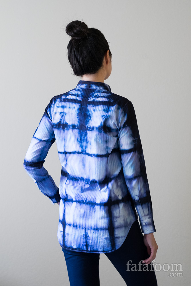 Result: Shibori Dye Shirt, Square Accordion Fold Style - DIY Fashion Garment | fafafoom.com