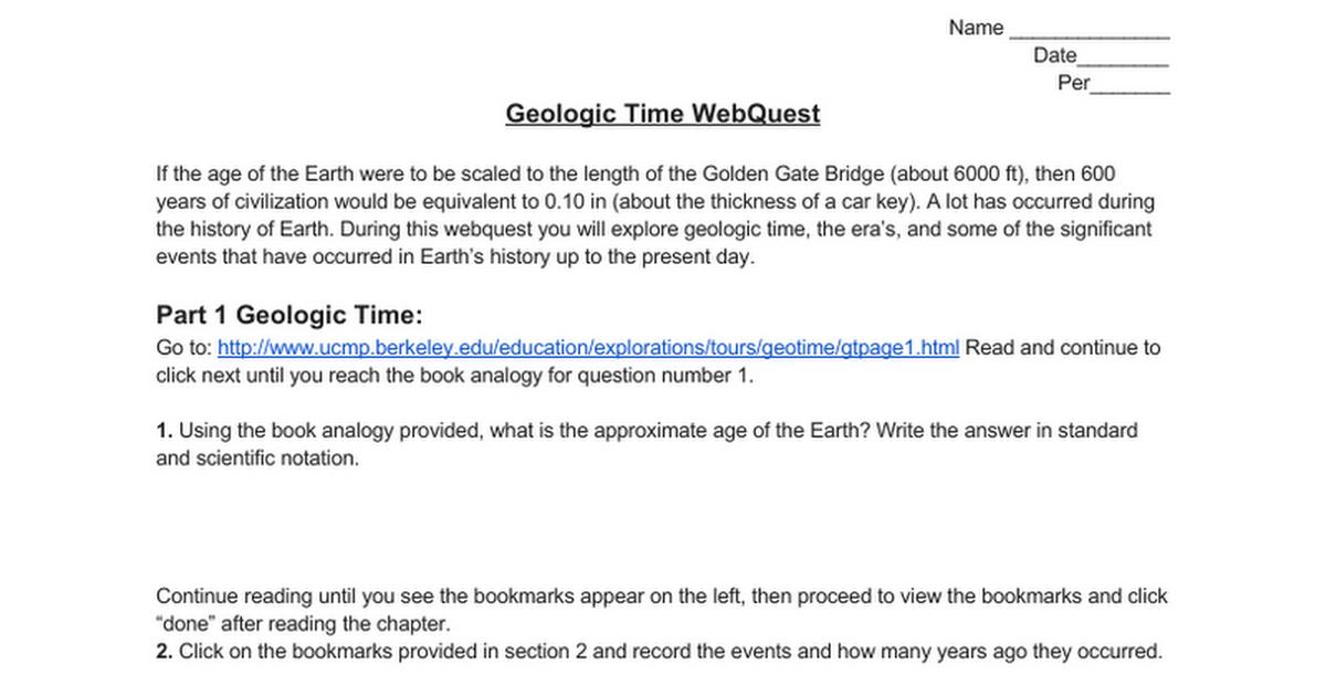Geologic time webquest google docs ibookread ePUb