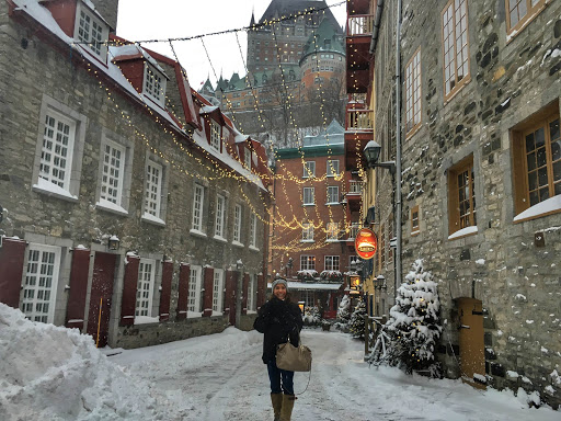 quebec-city-holiday-lights.jpg - That's me marveling at how festive Quebec City looks under holiday lights at twilight.