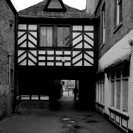 Beneath the Timberframe by DJ Cockburn - Black & White Buildings & Architecture ( england, britain, worcestershire, city, trinity passage, worcester, house, building, grayscale, timberframe, west midlands, urban, uk, street, monochrome, cityscape, black and white, alley, alleyway, architecture )