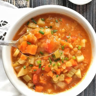 Red Lentil Soup with Root Vegetables and Sage.