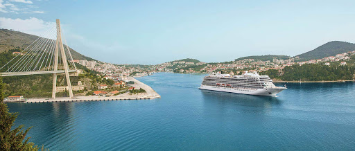 Viking Star passes a bridge in historic Dubrovnik, Croatia.