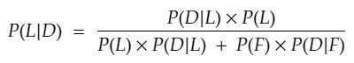 P(L|D) = (P(D|L) x P(L)) / (P(L) x P(D|L) + P(F) x P(D|F))