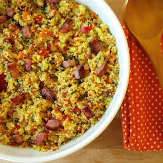 Spicy Saffron couscous With Vegetables and Bacon.