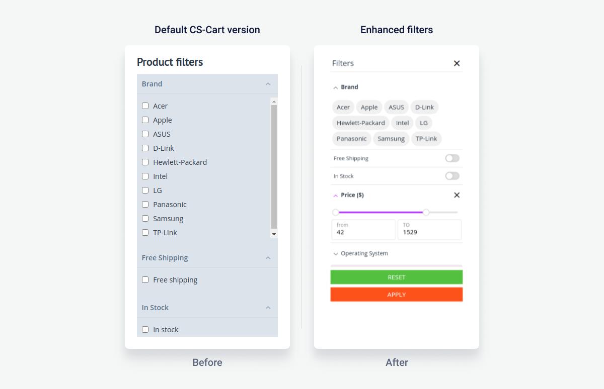 Default Filtering vs Enhanced Filters