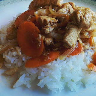 Stir-Fried Chicken with Cabbage and Carrots.
