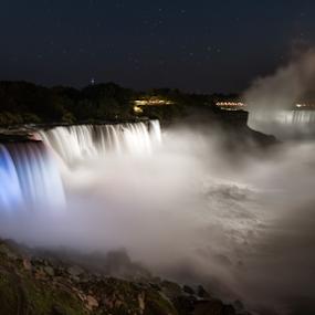 Niagara Falls by Amitabh Mukherjee - Landscapes Waterscapes ( water, canada, colors, waterfall, nyc, usa, lights, blue, niagara falls, state park, niagara, long exposure, new york city, american fall, observation deck )