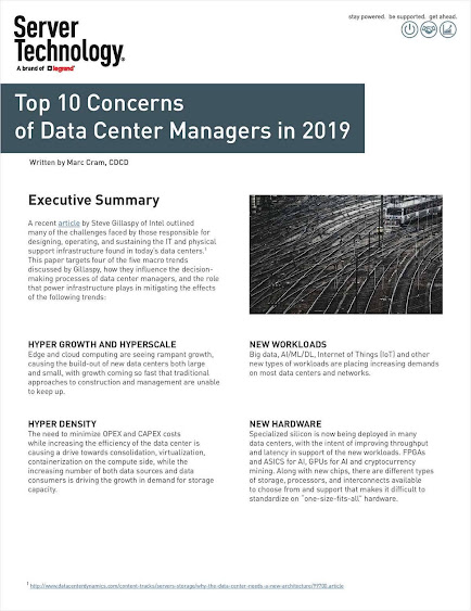 Top Ten Concerns of Data Center Managers for 2019