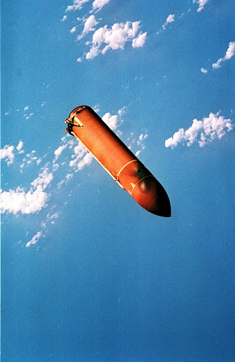 STS-78 external tank documented after separation