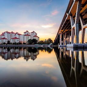 Housing Bridge by Martin Yon - City,  Street & Park  Neighborhoods ( condo, reflection, bridge, sunrise, singapore )