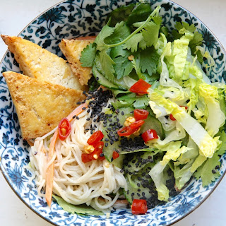Coconut Rice Noodles With Fried Tofu & Cilantro