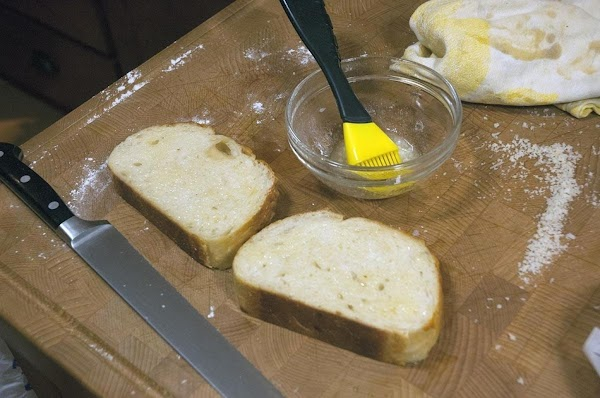 Brush the butter on bother sides of the bread.