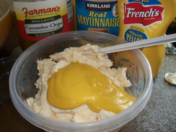 In a separate bowl mix the mayonnaise & mustard use your rubber spatula to...