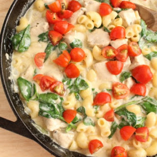 Skillet Chicken, Macaroni and Cheese.
