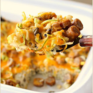 Slow Cooker Breakfast Casserole with Eggs, Sausage, Cheese, Leeks, Mushrooms and Cauliflower.