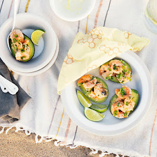 Ginger & Cilantro Shrimp Salad in Avocado Shells.