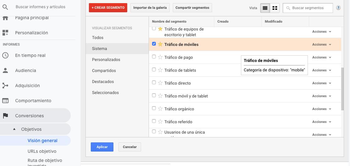Aplica segmentos a la tendencia anual en Google Analytics