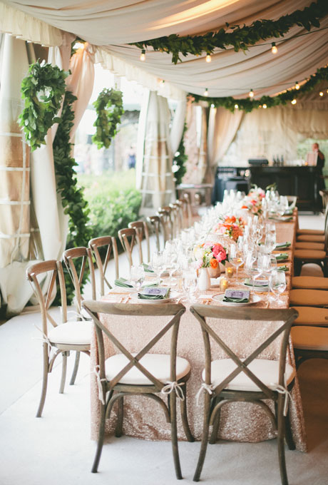 Beautiful Wedding Tent Ideas: Pink, fabric, Green Earthy Decorations and a Pink Glitter Table Cloth