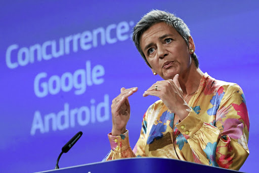 Undeterred: European Competition Commissioner Margrethe Vestager addresses a news conference on Google in Brussels, Belgium, on July 18. Picture: REUTERS