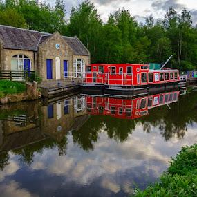 Barges, Union Canal, Scotland by Iain Cathro - Transportation Boats ( scotland, edinburgh, barge, sony dsc-rx100, boats, union canal )