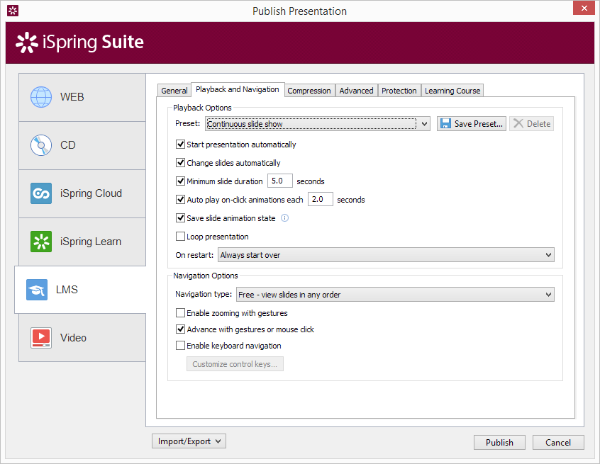 The iSpring Publish presentation window, where you can set Automatic Slide advance, etc.