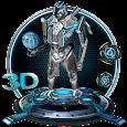 3D Blue Tech Globe Robot Theme