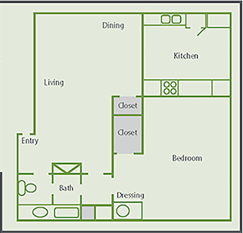 Go to One Bed, One Bath A1 Floorplan page.