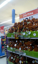 Photo: I found the loofahs display just past the Cosmetics aisle at this Walmart.