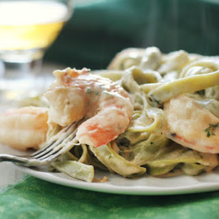 Creamy Shrimp Pasta with Hard Cider Sauce.