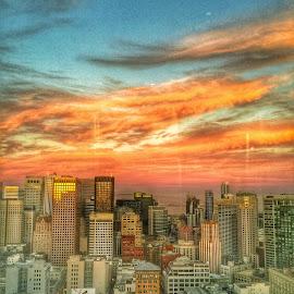 Window streaks by Rachel Levin - City,  Street & Park  Skylines ( skyline, sunset, sf, san francisco )